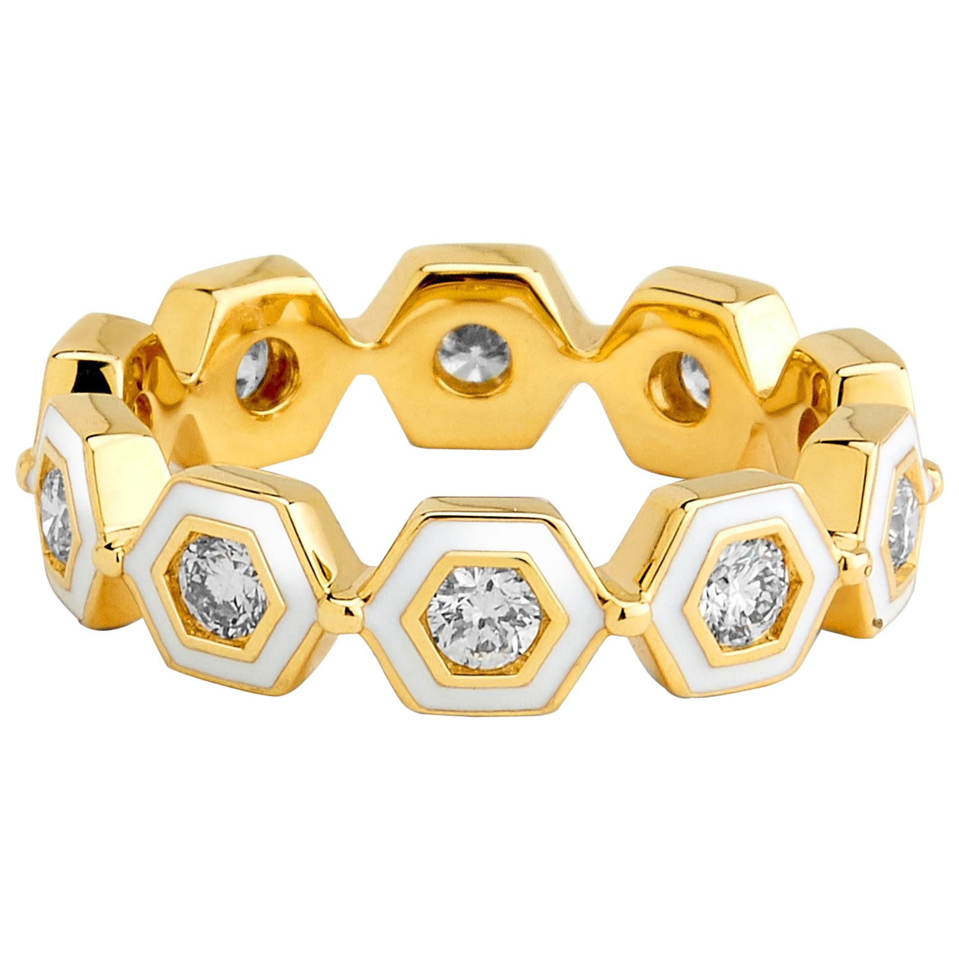 Syna Yellow Gold White Enamel Ring with Champagne Diamonds