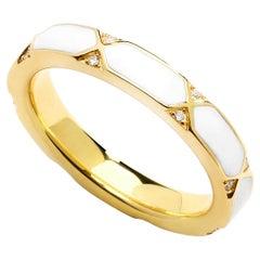Syna Yellow Gold White Enamel Ring with Diamonds