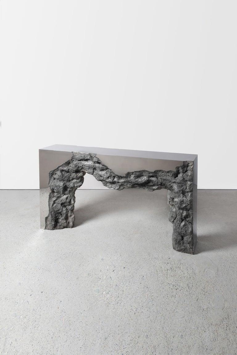 Synthesis Monolith Console Table No.2 Polished Stainless Steel In New Condition For Sale In Los Angeles, CA
