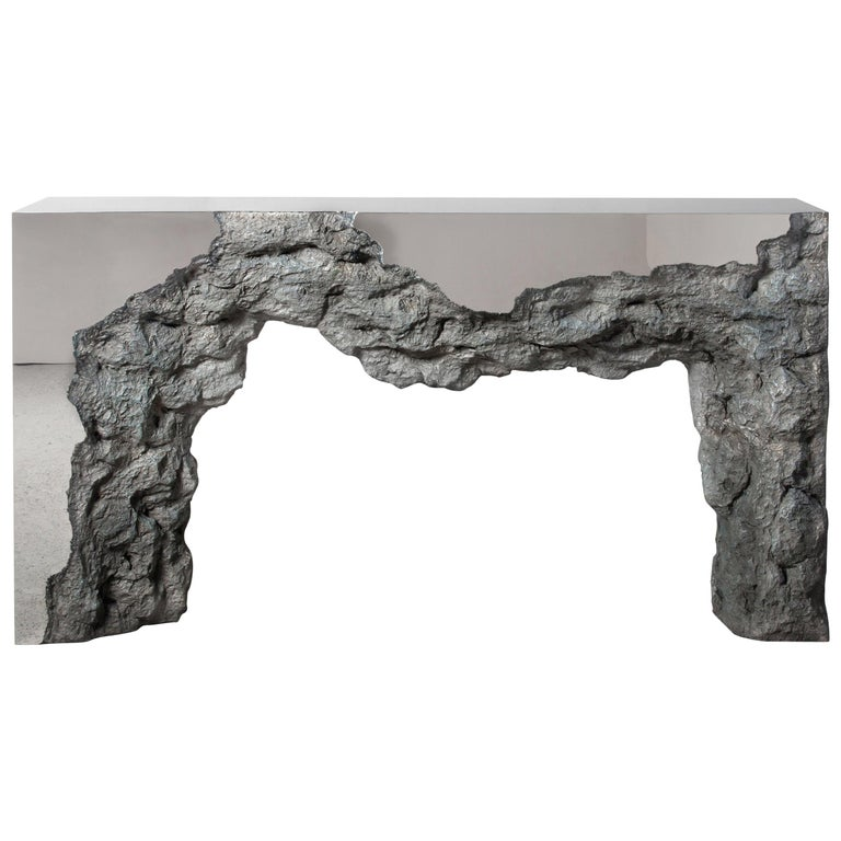 Synthesis Monolith Console Table No.2 Polished Stainless Steel For Sale