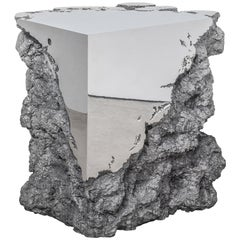 Synthesis Monolith Stool in Polished Stainless Steel by Hongjie Yang