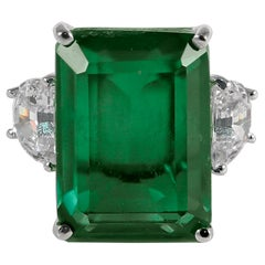 Synthetic 20 Carat Rectangular Step Cut Emerald Diamond Ring