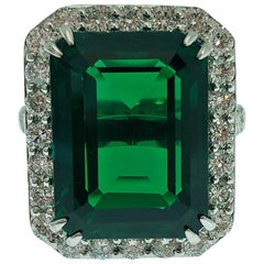 Synthetic  Deep Vivid Green Emerald and Natural Diamonds Statement Ring