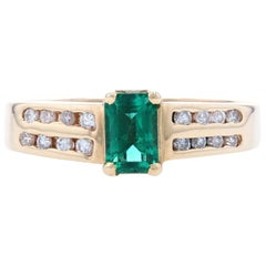 Synthetic Emerald Solitaire Ring, 14k Yellow Gold Diamond Band Accents .79ctw