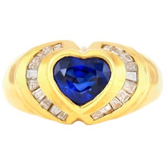 Synthetic Heart Sapphire with Emerald Cut Diamonds Ring