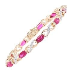 Synthetic Ruby and Diamond Bracelet, 14 Karat Gold Marquise Brilliant 8.06 Carat