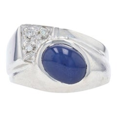 Synthetic Star Sapphire & Diamond Bypass Ring, 14k Gold Cabochon 2.24ctw Men's