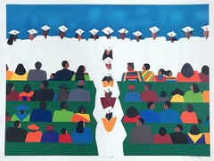 WITH HONORS Signed Lithograph, Graduation Ceremony, Caps and Gowns, Education