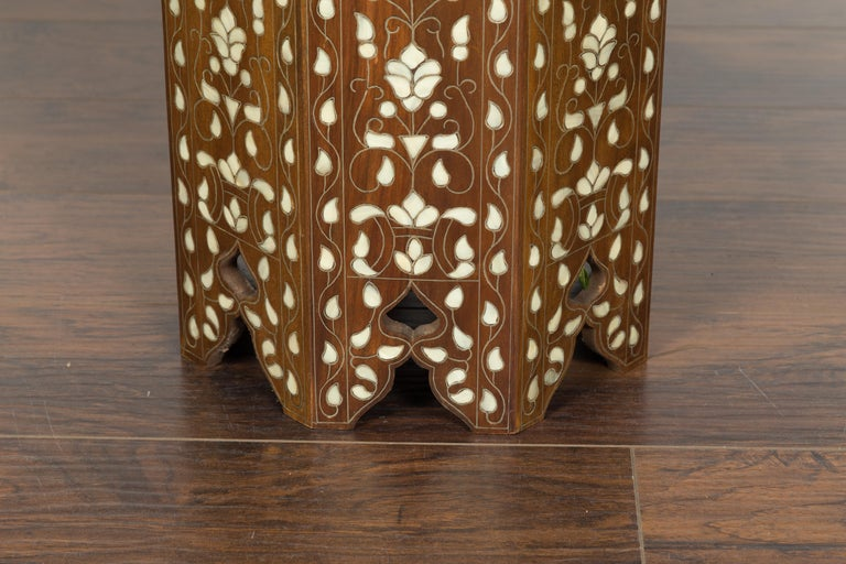 Syrian 1920s Moorish Style Octagonal Table with Mother of Pearl and Bone Inlay For Sale 5