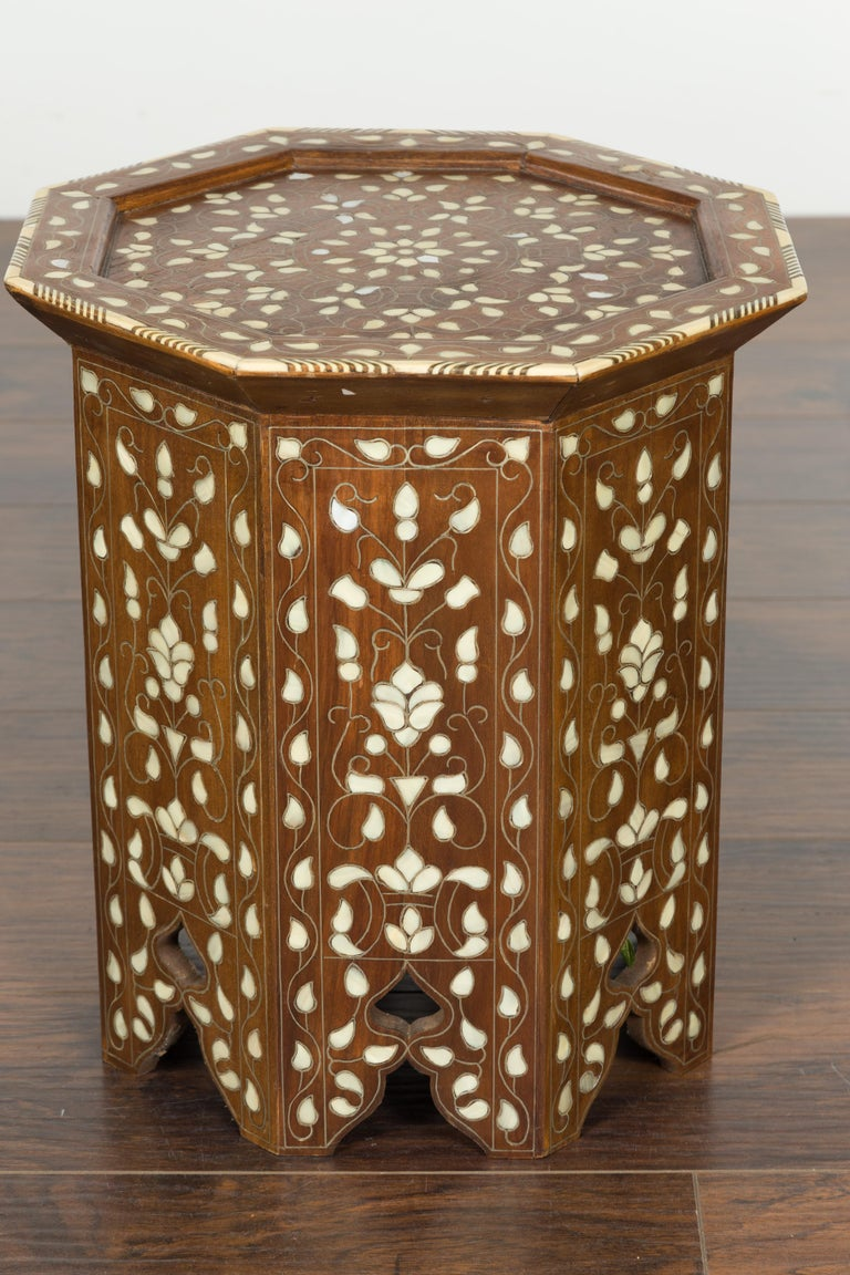 Syrian 1920s Moorish Style Octagonal Table with Mother of Pearl and Bone Inlay For Sale 6