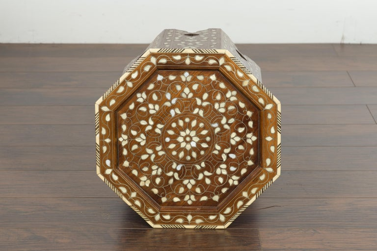 Syrian 1920s Moorish Style Octagonal Table with Mother of Pearl and Bone Inlay For Sale 7