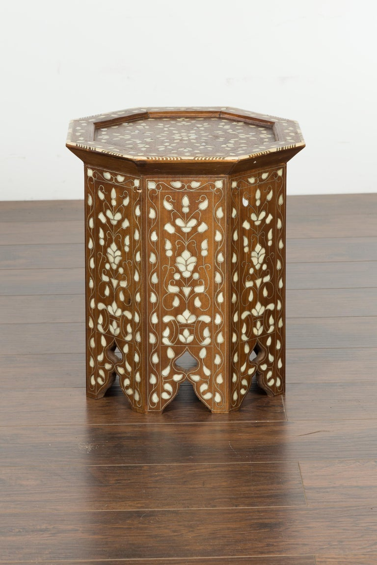 Syrian 1920s Moorish Style Octagonal Table with Mother of Pearl and Bone Inlay For Sale 8