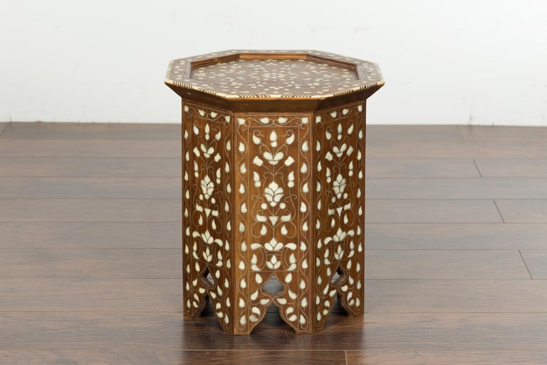 Syrian 1920s Moorish Style Octagonal Table with Mother of Pearl and Bone Inlay For Sale 11