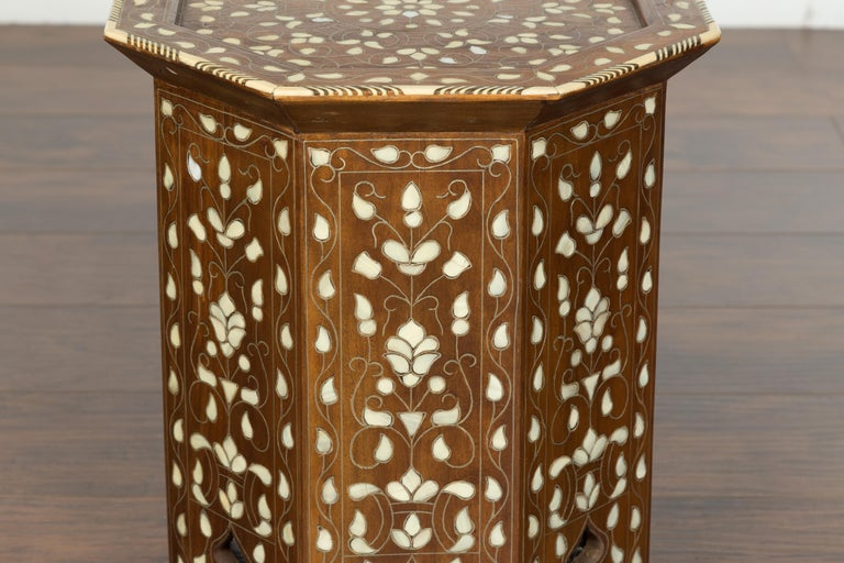 Syrian 1920s Moorish Style Octagonal Table with Mother of Pearl and Bone Inlay For Sale 12