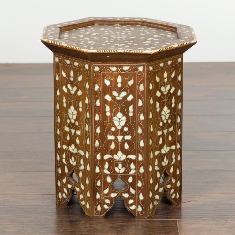 Syrian 1920s Moorish Style Octagonal Table with Mother of Pearl and Bone Inlay In Good Condition For Sale In Atlanta, GA