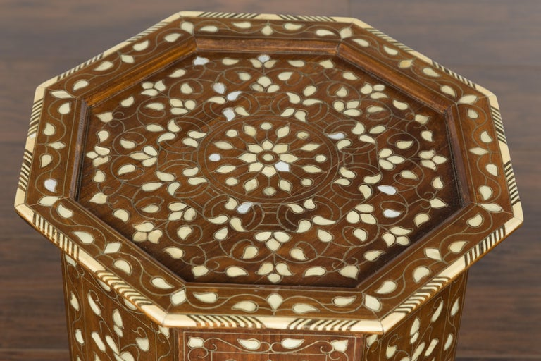 20th Century Syrian 1920s Moorish Style Octagonal Table with Mother of Pearl and Bone Inlay For Sale