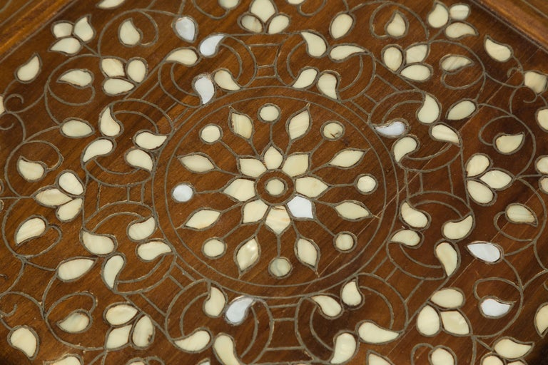 Wood Syrian 1920s Moorish Style Octagonal Table with Mother of Pearl and Bone Inlay For Sale