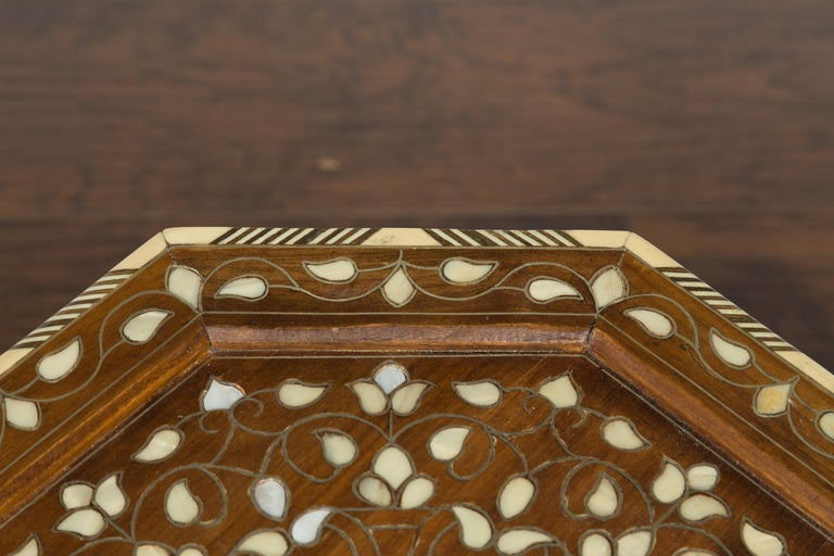 Syrian 1920s Moorish Style Octagonal Table with Mother of Pearl and Bone Inlay For Sale 1