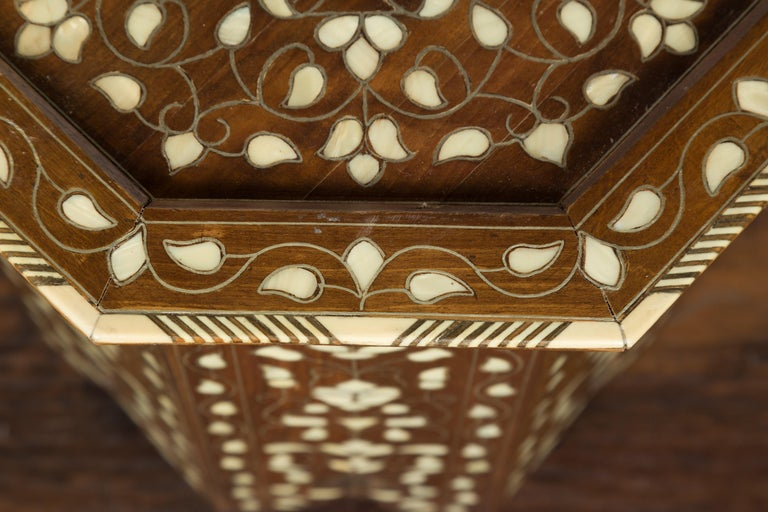 Syrian 1920s Moorish Style Octagonal Table with Mother of Pearl and Bone Inlay For Sale 2