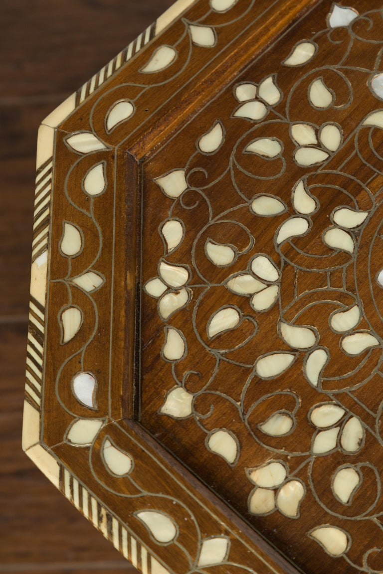 Syrian 1920s Moorish Style Octagonal Table with Mother of Pearl and Bone Inlay For Sale 3