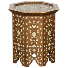 Syrian 1920s Moorish Style Octagonal Table with Mother of Pearl and Bone Inlay