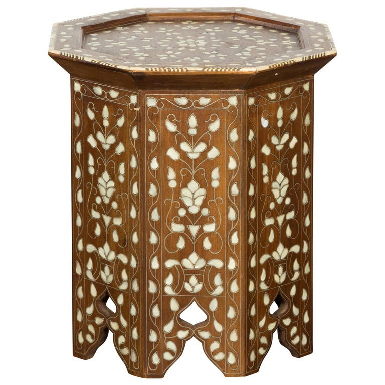 Syrian 1920s Moorish Style Octagonal Table with Mother of Pearl and Bone Inlay For Sale