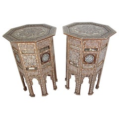 Syrian Antique Moorish Mother of Pearl Inlay Pedestal Tables, 19th Century