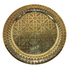 Syrian Antique Round Brass Tray