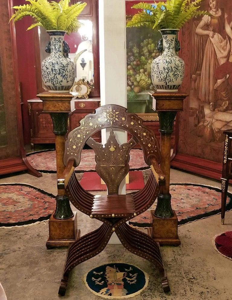 Syrian Brass Inlaid Savonarola Chair For Sale 4