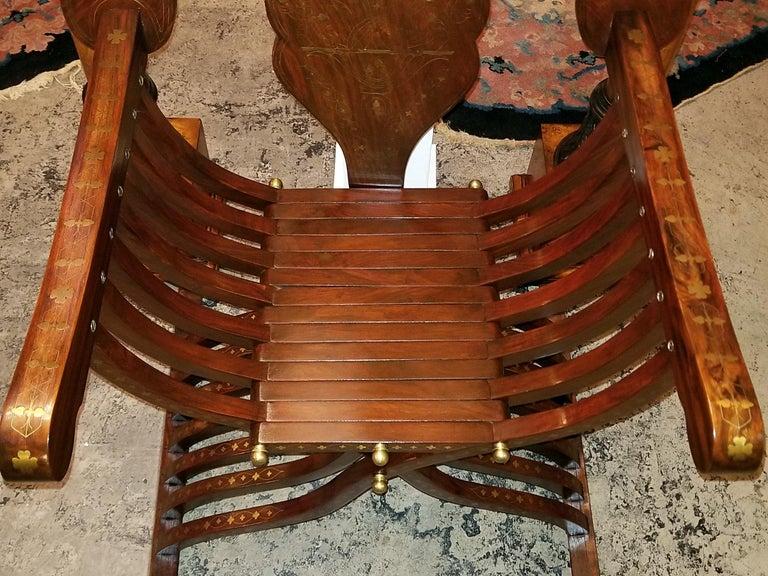 20th Century Syrian Brass Inlaid Savonarola Chair For Sale