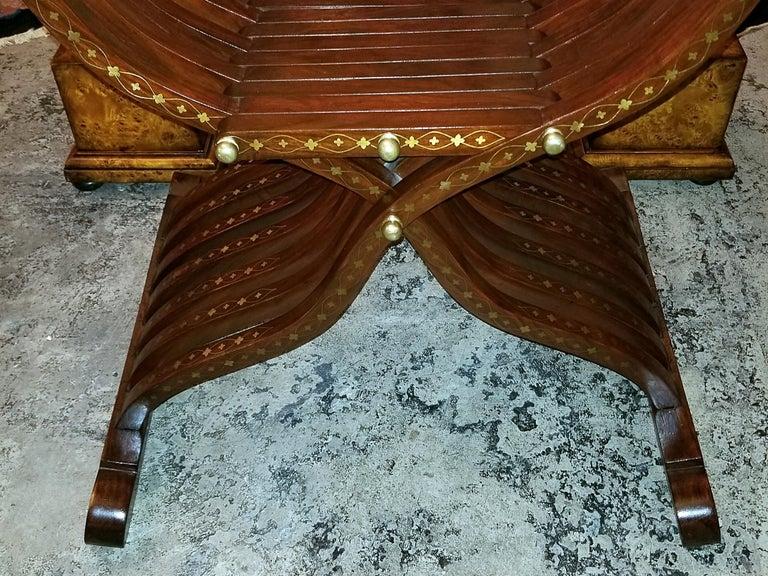 Syrian Brass Inlaid Savonarola Chair For Sale 1