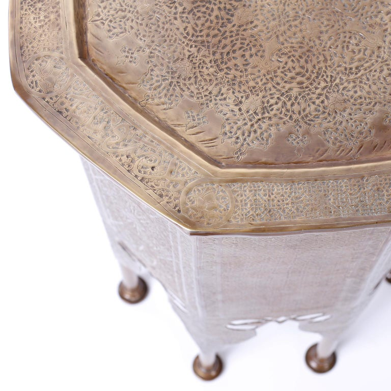 Moorish Syrian Brass Stand or Table For Sale