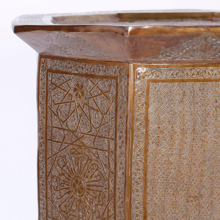 Etched Syrian Brass Stand or Table For Sale