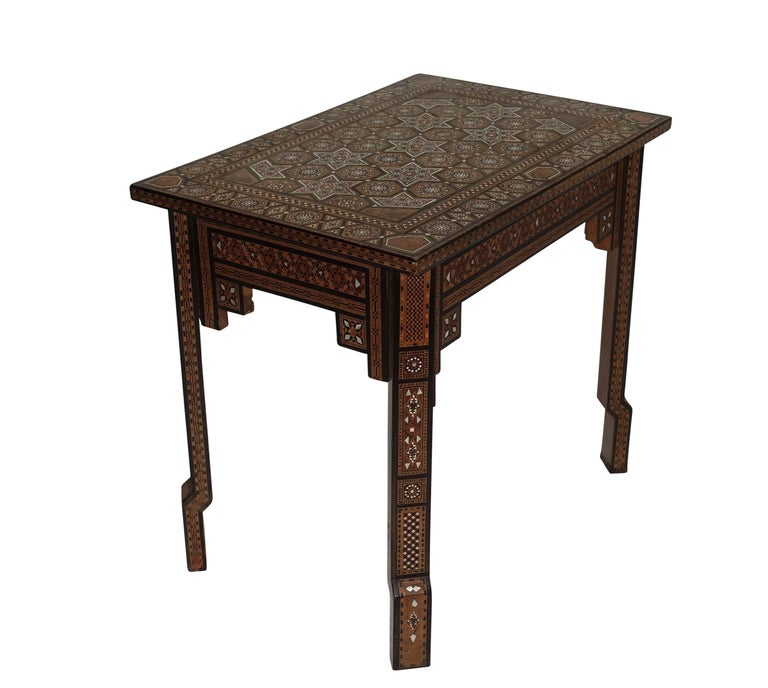 Inlay Syrian Geometric Inlaid Side Table, circa 1950 For Sale