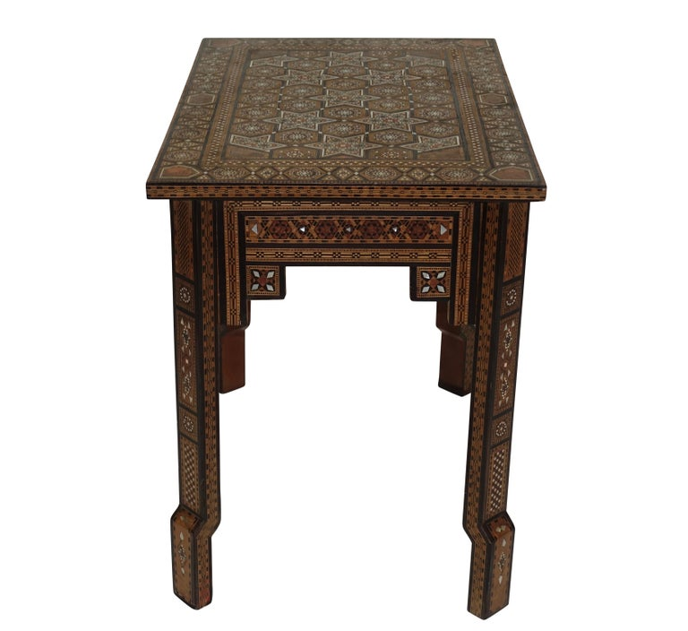 Syrian Geometric Inlaid Side Table, circa 1950 In Good Condition For Sale In San Francisco, CA