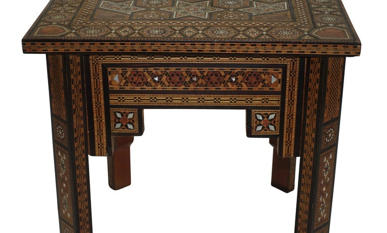 20th Century Syrian Geometric Inlaid Side Table, circa 1950 For Sale