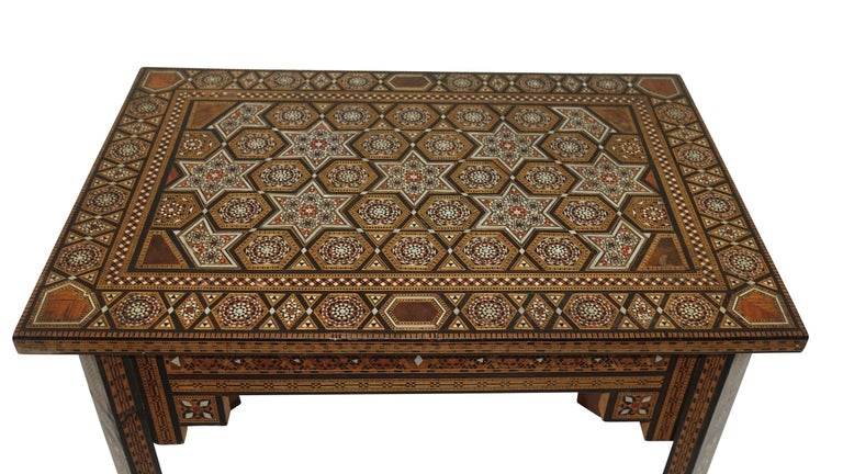 Bone Syrian Geometric Inlaid Side Table, circa 1950 For Sale