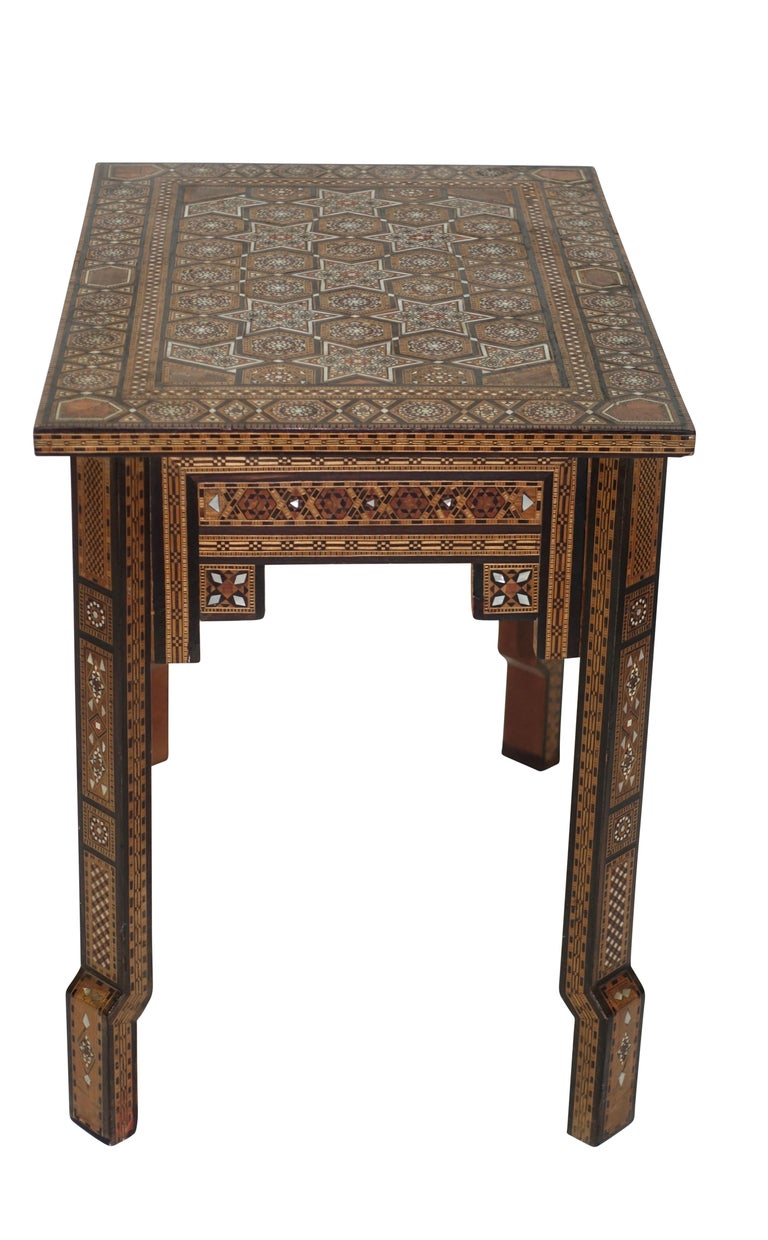 Syrian Geometric Inlaid Side Table, circa 1950 For Sale 1