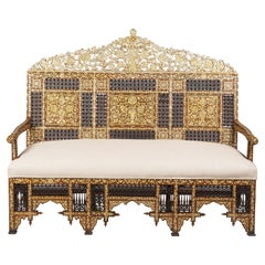 Syrian Mother of Pearl Inlaid Paduk Settee with Spindle or Ball Panels