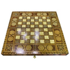 Syrian Moorish Inlaid Mosaic Backgammon and Chess Wooden Game Board Box