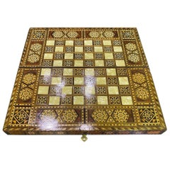 Syrian Moorish Inlaid Mosaic Backgammon and Chess Wooden Game Board Box