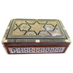 Syrian Moorish Middle Eastern Mother of Pearl Inlaid Mosaic Jewelry Box