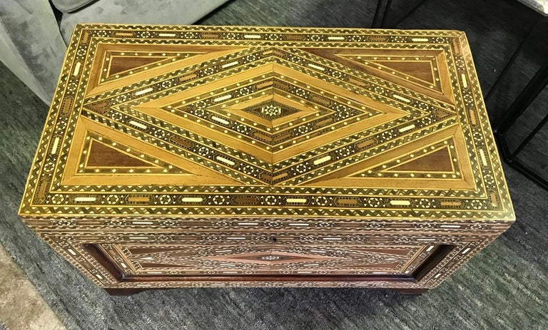 Hand-Crafted Syrian Moorish Mother of Pearl Inlaid Mosaic Trunk Box For Sale