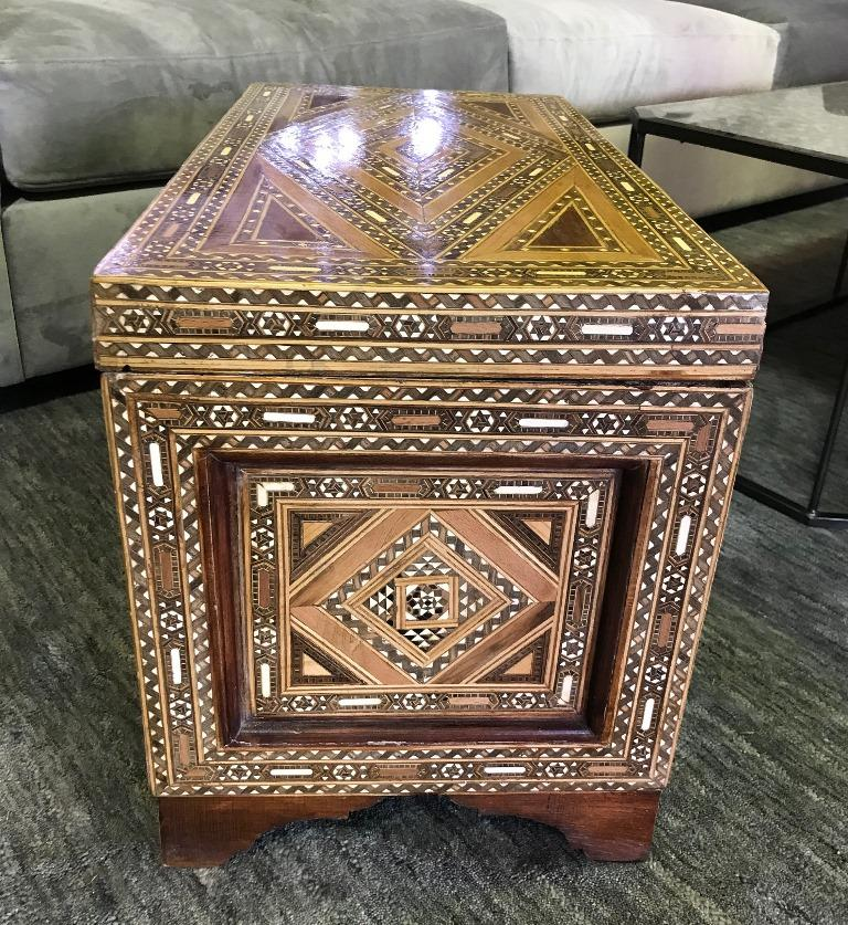 20th Century Syrian Moorish Mother of Pearl Inlaid Mosaic Trunk Box For Sale