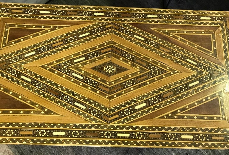 Wood Syrian Moorish Mother of Pearl Inlaid Mosaic Trunk Box For Sale