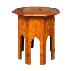 Syrian Moorish Style 1830s Oak Side Table with Brass Geometric and Floral Motifs