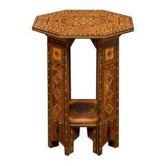 Syrian Moorish Style 1920s Painted Octagonal Table with Pierced Sides and Shelf