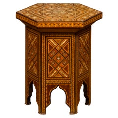 Syrian Moorish Style 1930s Hexagonal Table with Lift Top and Polychrome Decor