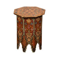 Syrian Moorish Style Octagonal Side Table with Hand Painted Polychrome Décor