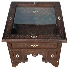 Syrian Moroccan Mother of Pearl Side Table or Display Case